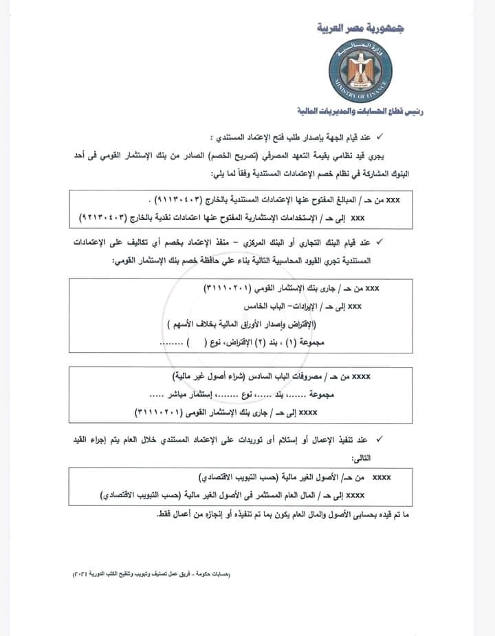 3 5 - كتاب دورى وزارة المالية رقم 42 لسنة 2021 بشأن الاعتمادات المستندية