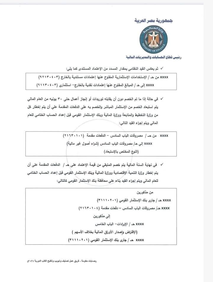 4 4 - كتاب دورى وزارة المالية رقم 42 لسنة 2021 بشأن الاعتمادات المستندية